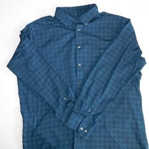 Van Heusen Plaid Window Pane Shirt/ Size 17.5